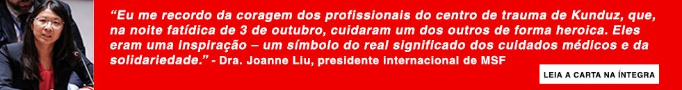 Carta da Dra. Joanne Liu, presidente internacional de MSF.