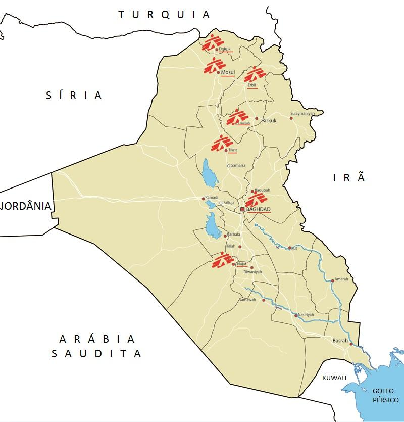 Mapa do Iraque com os projetos de MSF no país