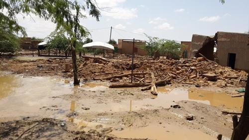 Cidade de Alaback, no Níger, depois das inundações (Foto: MSF)