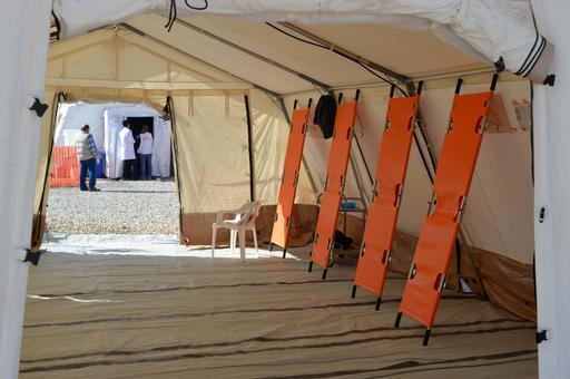 Área de triagem de hospital de campo instalado por MSF (Foto: MSF)