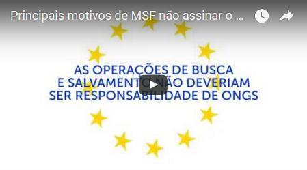 Principais motivos de MSF não assinar o Código de Conduta italiano