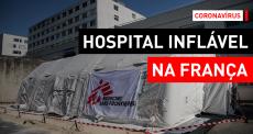 COVID-19: tenda médica inflável em Reims, França